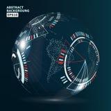 Futuristic Globalization Interface. Modern Earth Concept. Technological Digital Globe World Stock Image