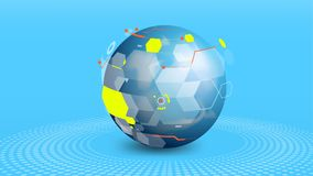 Globe data network elements abstract background. Futuristic globe data network technology elements abstract vector background royalty free illustration