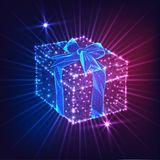 Futuristic glowing low poly gift box with ribbon bow isolated on dark blue and purple background