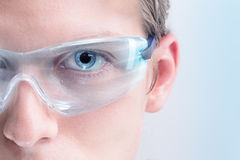 Futuristic goggles. Futuristic eyewear with built-in display, copy space for Your text or image Stock Images
