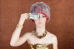 Futuristic golden bronze woman technology chipset Royalty Free Stock Images