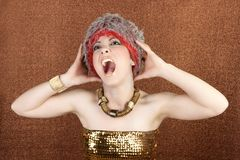 Futuristic golden woman crazy shout expression Stock Images