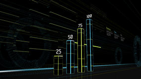 Futuristic graph on the street with buildings lights. Illustration of a futuristic graph on the street with buildings switching light tracks at high speed Stock Photo