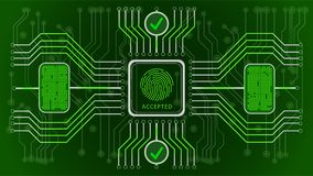 Futuristic green abstract background. Accepted. Biometric control and personality confirmation. Scheme of control of fingerprints. Security of information in a Royalty Free Stock Photo