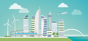 Futuristic green city. With wind turbines, skyscrapers and monorail, sustainability and innovation concept Stock Images