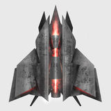 Futuristic grey metal spaceship. Royalty Free Stock Photography