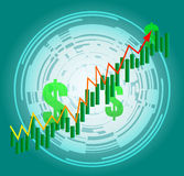 Futuristic Growth Curve. Technological Display of Financial gain Royalty Free Stock Photos