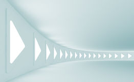 Futuristic Hall. 3d Illustration of Blue Futuristic Hall Interior Royalty Free Stock Photography