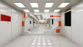 Futuristic hall alien spaceship. 3d render Futuristic hall alien spaceship Royalty Free Stock Image