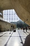 Futuristic hall in Museum of History of Polish Jews in Warsaw. Royalty Free Stock Images