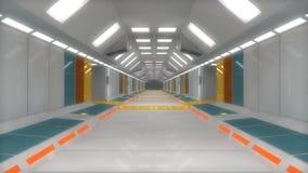 Futuristic hallway. Interior concept design Stock Photos