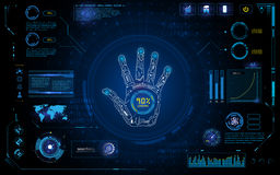 Futuristic hand scan identify with hud  element interface screen monitor design background template Stock Photo