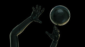 Futuristic hands with ball Royalty Free Stock Photo