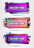Futuristic Header Frame Design with Abstract shapes and drops of colors behind Royalty Free Stock Images