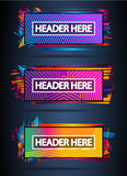 Futuristic Header Frame Design with Abstract shapes and drops of colors behind Stock Photo