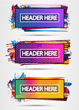 Futuristic Header Frame Design with Abstract shapes and drops of colors behind Stock Image