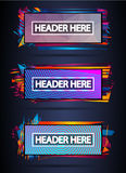 Futuristic Header Frame Design with Abstract shapes and drops of colors behind Royalty Free Stock Image