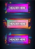 Futuristic Header Frame Design with Abstract shapes and drops of colors behind Stock Photos