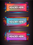 Futuristic Header Frame Design with Abstract shapes and drops of colors behind. The space for text. Modern Artistic flyer or party thai background royalty free illustration