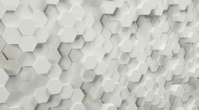 Futuristic hexagon background, 3D Photorealistic. White 3D hexagons design structure background. ideal for websites and magazines layouts Royalty Free Stock Photo