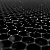 Futuristic Hexagon Pattern Abstract Background. 3d Render Illustration. Space surface. Dark sci-fi backdrop. Dots and. Lines connections. Science and technology royalty free illustration