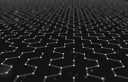 Futuristic Hexagon Pattern Abstract Background. 3d Render Illustration. Space surface. Dark sci-fi backdrop. Dots and. Lines connections. Science and technology stock illustration