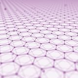 Futuristic Hexagon Pattern Abstract Background. 3d Render Illustration. Space surface. Light sci-fi backdrop. Dots and. Lines connections. Science and stock illustration