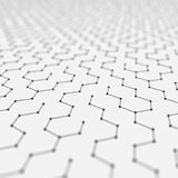 Futuristic Hexagon Pattern Abstract Background. 3d Render Illustration. Space surface. Light sci-fi backdrop. Dots and. Lines connections. Science and vector illustration