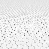 Futuristic Hexagon Pattern Abstract Background. 3d Render Illustration. Space surface. Light sci-fi backdrop. Dots and. Lines connections. Science and royalty free illustration