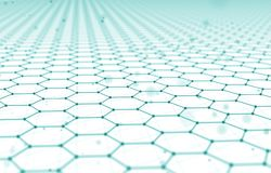 Futuristic Hexagon Pattern Abstract Background. 3d Render Illustration. Space surface. Light sci-fi backdrop. Dots and. Lines connections. Science and Royalty Free Stock Photos