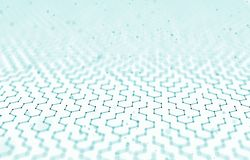 Futuristic Hexagon Pattern Abstract Background. 3d Render Illustration. Space surface. Light sci-fi backdrop. Dots and. Lines connections. Science and Royalty Free Stock Image