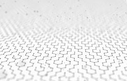 Futuristic Hexagon Pattern Abstract Background. 3d Render Illustration. Space surface. Light sci-fi backdrop. Dots and. Lines connections. Science and Stock Images