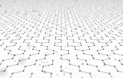 Futuristic Hexagon Pattern Abstract Background. 3d Render Illustration. Space surface. Light sci-fi backdrop. Dots and. Lines connections. Science and Royalty Free Stock Photography
