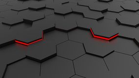 Futuristic hexagonal black floor and red lights. 3d illustration and rendering Stock Images