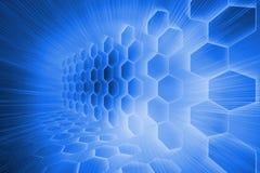 Futuristic hexagons on blue background Royalty Free Stock Photos