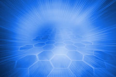 Futuristic hexagons on blue background Stock Image