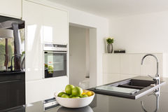Futuristic high gloss kitchen Royalty Free Stock Photography