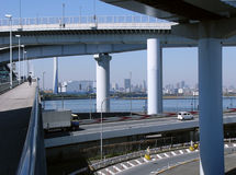 Futuristic highway support. Highway construction hanged on the huge rigid support Royalty Free Stock Images