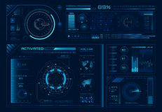 Free Futuristic Hologram Ui. Science Hud Interfaces, Graph Interface Frames And Tech Regulators Or Button Design Elements Stock Photos - 130068753