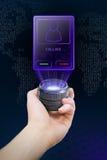 Futuristic holographic communicator vector illustration