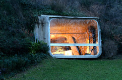 Futuristic home. Viewing pod from the gallo-roman museum in lyon, france stock images