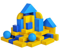 Futuristic house with natural colored toy blocks on white background Royalty Free Stock Images