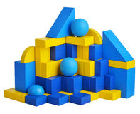 Futuristic house with natural colored toy blocks on white background Stock Photos