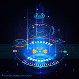 Futuristic HUD Background. With holographic circles and blue light flat isolated vector illustration Stock Photos