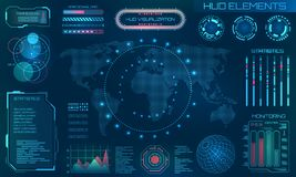 Futuristic HUD Design Elements. Infographic or Technology Interface for Information Visualization. Illustration Vector vector illustration