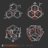 Futuristic HUD elements. Abstract technological background. Vector illustration Royalty Free Stock Photos