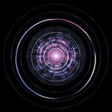 Futuristic HUD Isolated On Black Background. Alien Technology Co. Ncept Stock Photo