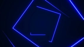 Futuristic HUD rectangle tunnel seamless loop. 4K Neon motion graphics for LED