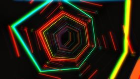 Futuristic HUD red hex tunnel VJ. 4K Neon motion graphics for LED royalty free stock image
