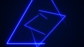 Futuristic HUD triangle tunnel VJ background. 4K Neon motion graphics for LED